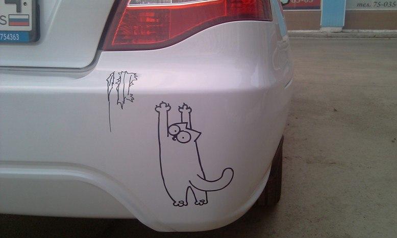 Наклейки на машины с котом