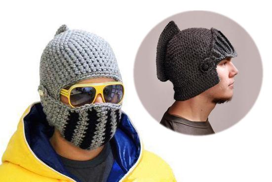 """Вязанная шапка """"Шлем рыцаря"""""""