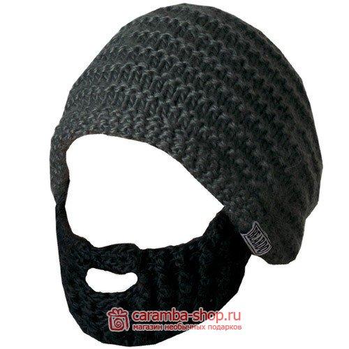 шапка с бородой темно серая с черной бородой шапка с бородой на